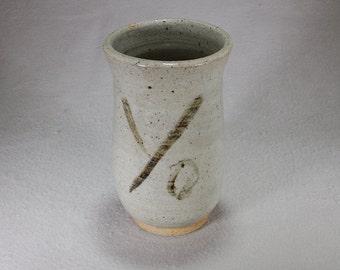 Large Stoneware cylinder with underglaze copper Yo