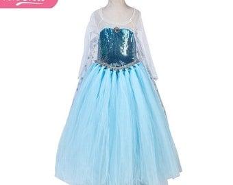 Frozen Elsa Gown, Frozen Elsa Costume, Girls Elsa Costume, Long Sleeved,  Halloween Costume, Handmade Kids Fancy Dress, Girls TUTU