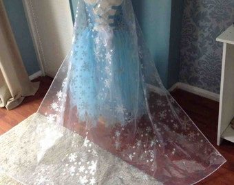 Disney Inspired Frozen Elsa Snowflake Cape - Christmas Cape  -  Long Cape - Drags on the Floor - Age 1yrs- Adult size