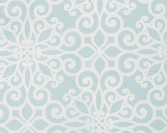 SCHUMACHER French Quarters Style ORNAMENTAL SCROLLWORKS Hand Printed Cotton Toile Fabric 10 yards Aquamarine