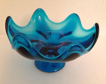 Viking Glass Epic Candy Dish Bowl Bluenique Aqua