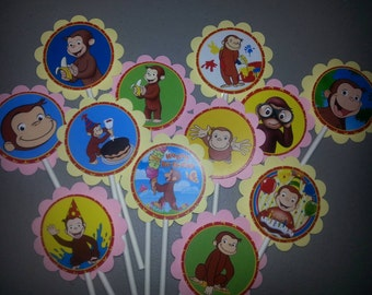 12 Pink & Yellow Curious George Cupcake Toppers