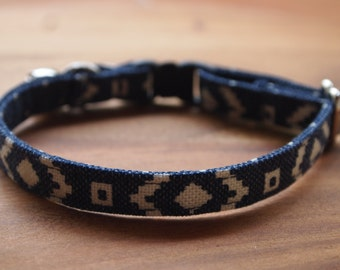Blue Canvas Cotton Cat Collar