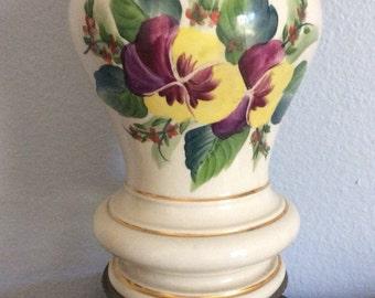 Vintage Porcelain lamp, Mid Century, pansy flowers, Vintage Lamp, Vintage lighting,