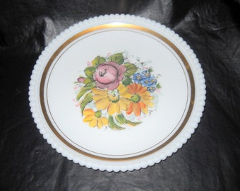 Hand Painted Westmoreland Plate with Beaded Edge, Gold Gilt, 1950's