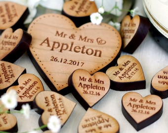 Personalised Wooden Rustic Centrepieces Love Hearts Wedding Decor Wedding Table Decorations Favours Cherry 2cm
