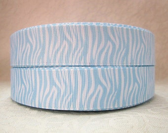 7/8 inch Light Blue Zebra Animal Print on White - Animal Print - Printed Grosgrain Ribbon for Hair Bow