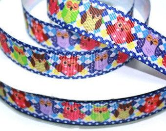 7/8 inch COLORFUL OWLS - Blue Border  Printed Grosgrain Ribbon for Hair Bow
