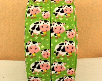 7/8 inch Cutest COWS on Lime Green Cow Printed Grosgrain Ribbon for Hair Bow