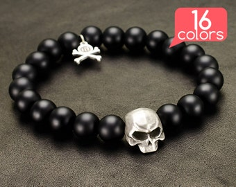 Skull Bracelet - Skull hand bracelet with BIG skull, pendant with crossed bones and 16 colors of natural stones!