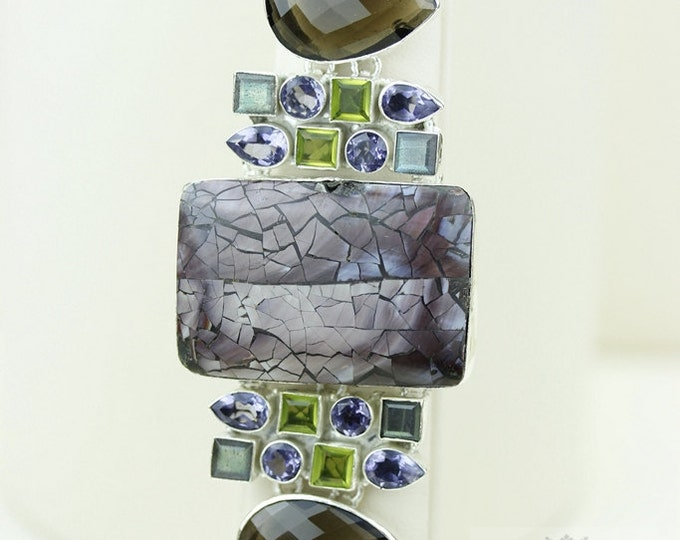 Large Checkerboard SHELL Smokey Topaz Peridot 925 S0LID Sterling Silver Bracelet & FREE Worldwide Express Shipping B670