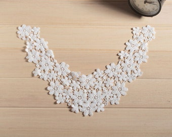 Venice Cotton lace Collar Appliques,Floral Emboridered Collar 1 piece(104-107)