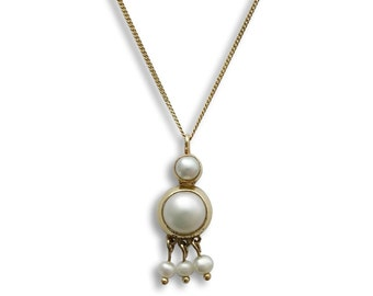 Dangle pearls gold necklace, 14K yellow Gold and Pearls, bridal chandelier necklace handmade Wedding Necklace vintage style pearl necklace,