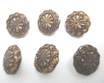 Cod. 011 Set of 10 vintage buttons plastic bronze original 80s brown color made in Italy