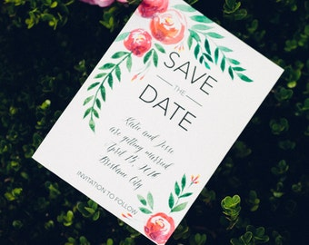 Water color flowers - Save the date with magnet