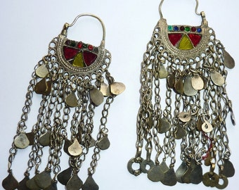 Tribal Kuchi Earrings with long Metal Fringes, vintage