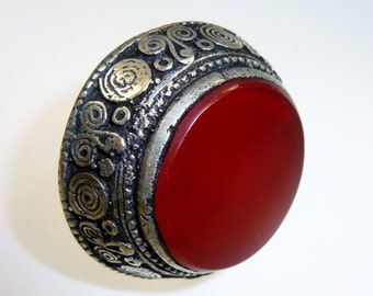 Big Red Tribal Ring with Carnelian Stone