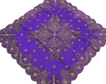 Purple Tablecloth   Fancy Table Linens Decorative Designer Gold Beaded  Overlay From India   NH15872