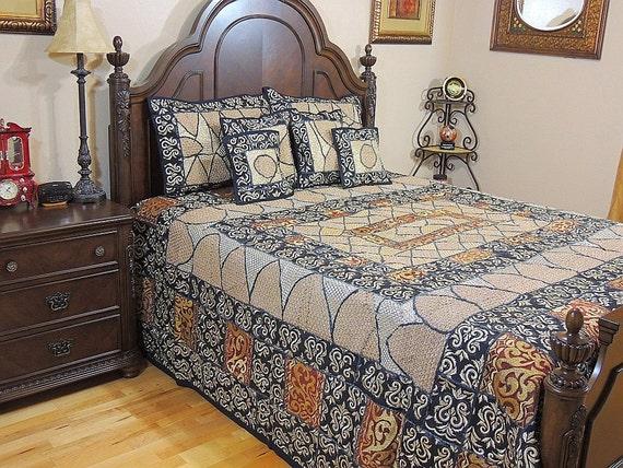 Bedroom decor black handmade duvet set gold copper zari for Handmade decorative items for bedroom