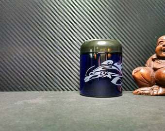 Custom Etched Dolphin swimming on Personal size Blue Glass jar with Air tight Black lid
