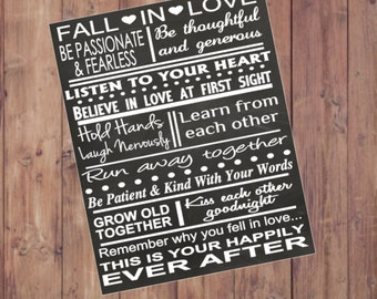 """Fall In Love Marriage Rules Sign Instant Download Digital Download 11x14"""" Wedding Gift for Couple Chalkboard Sign Wedding Shower Gift"""