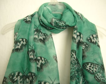 Butterfly Scarf, Green And Grey Butterfly Scarf, For Her, Spring- summer Accessory, Scarf, Fashion Accessory