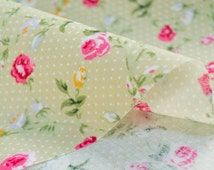 SHABBY CHIC COTTON,light green fabric,cotton fabric,roses fabric,peony,floral fabric,extra wide fabric,fabric by half yard,yard,euro fabric