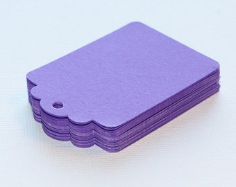 25 Lilac Purple Hang Tags, Paper Punches, Die cuts - 2 1/4""