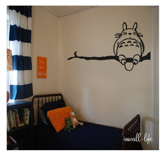 totoro on tree branch wall decor decal for nursery room wall art