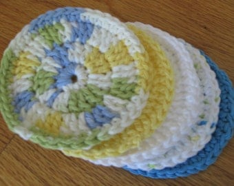 Crochet Facial Scrubbies/100% Cotton/Handmade Spa/Baby Washcloths/Gift Set/Blue/Yellow/White/Green/Bath Accessory/Gift Set