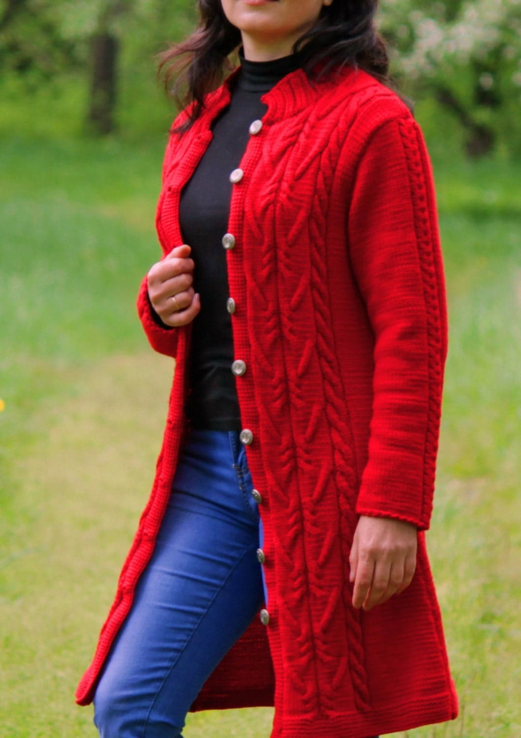 Hand Knit Women Chunky Cable Sweater Coat by MsDeborahKnitter