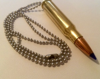 308 Winchester Bullet Necklace - Keychain Pendant - Bullet Zipper Puller - ALL IN ONE! Very Handy! Handmade, One Of A Kind