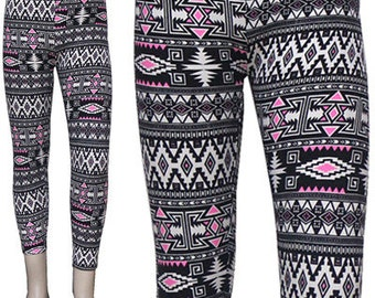 Fashion Aztec Brushed Leggings One Size Skinny Brushed Pants