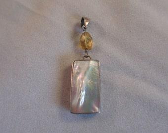 Vintage Mother Of Pearl Sterling Pendant