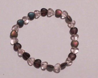 Mixed Glass Heart Bracelet