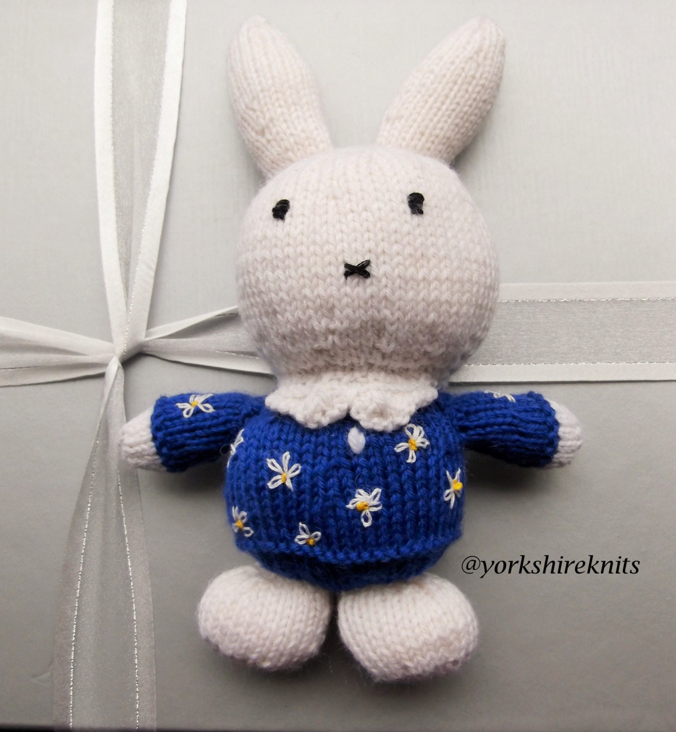 Hand Knitted Toys : Hand knitted miffy rabbit stuffed toy gift handmade