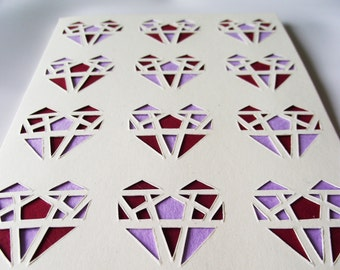 A6 Hand-Cut Geometric Heart Greetings Card