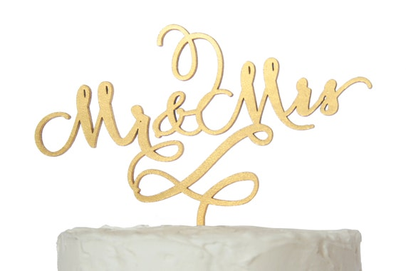 Mr. And Mrs. Cake Topper Gold Calligraphy Font Rustic Wood