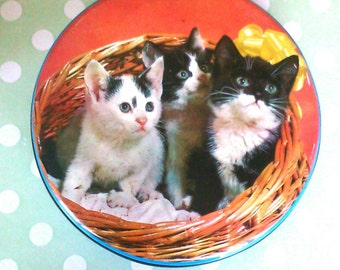 Vintage Cadbury tin. Three kittens.