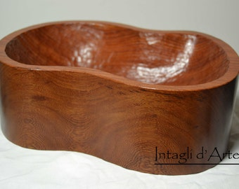 Handmade tray, centerpiece in solid rosewood