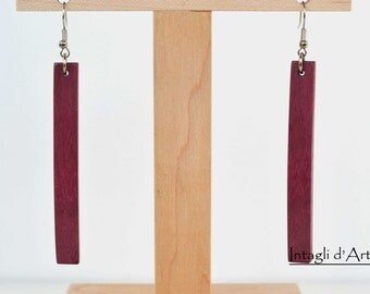 Handmade purpleheart wood Nikel-free earrings