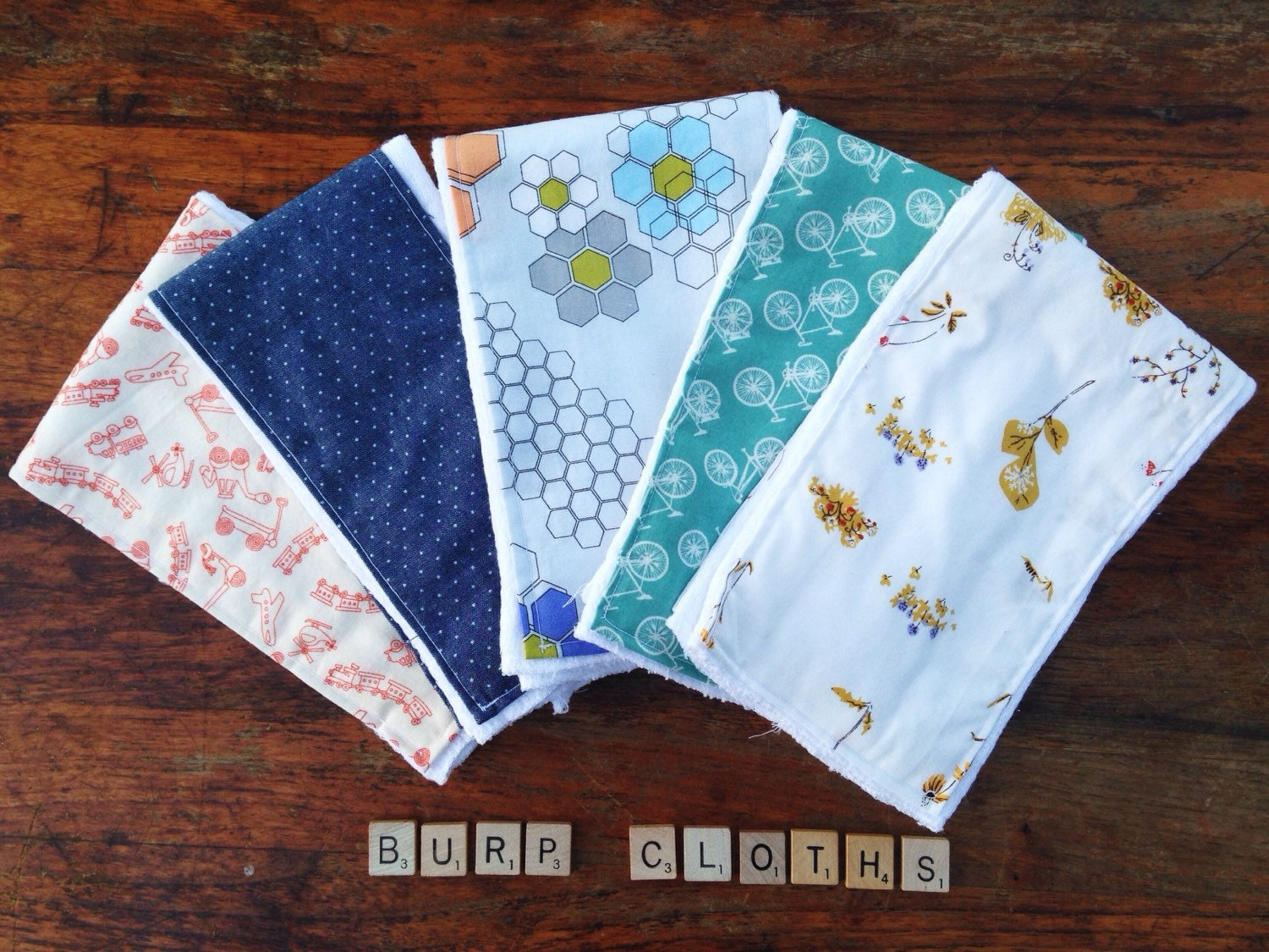 Homemade Baby Burp Cloths Choose Your 5 by MamaGooseGoods