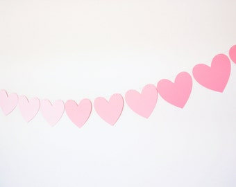 Pink Ombre Paper Heart Banner