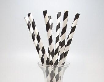 25 Black Paper Straws - Black Paper Straws - Black Party Straws - Black Stripe Drinking Straws - Black Paper Straw