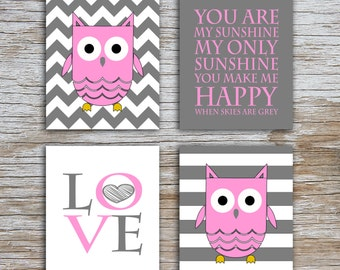 Kids (D) - You Are  My Sunshine - Owl - Gray Pink - 4 Parts