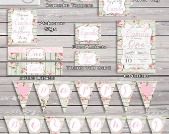 Shabby Chic Party Decorations / Printable Digital Theme / DIY Birthday Party