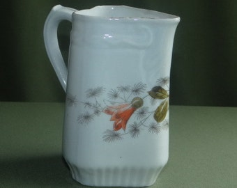 Cream Pitcher Vintage with Orange and Yellow Flowers Triangle 3 Sided