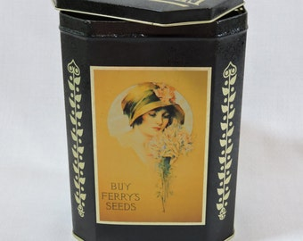 1995 Collectible Ferry's Seeds Tall Ladies with Hat Tin