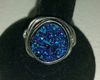 Wire Wrapped Druzy Ring