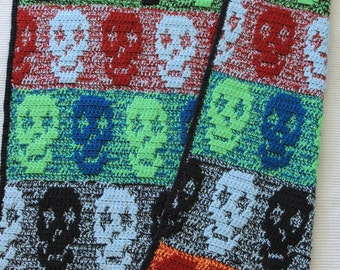 Halloween Crochet PATTERN for Blanket / Crochet Skull Pattern blanket, Skull blanket Crochet, Skull Crochet, Halloween Blanket